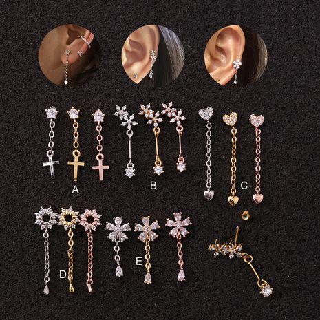 Boucles d'oreilles à fil double face avec pendentif fleur en acier inoxydable NHEN256040's discount tags