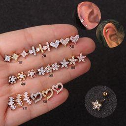 Mini flor vendedora caliente espárragos de hueso de acero inoxidable tornillo fino pendientes de circón de aguja NHEN256042