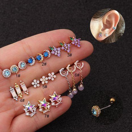 Nouvelle couleur boucles d'oreilles en acier inoxydable zircon en gros NHEN256044's discount tags