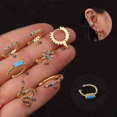 Nouveau clip d'oreille en forme de U couleur zircon oreille clip os mode boucles d'oreilles non percées NHEN256045's discount tags
