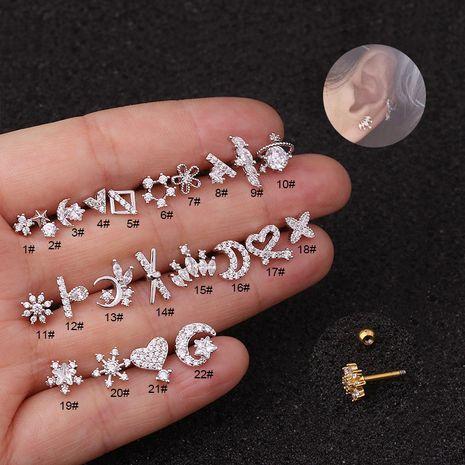 Boucles d'oreilles mini zircon à vis double face en acier inoxydable à la mode NHEN256046's discount tags