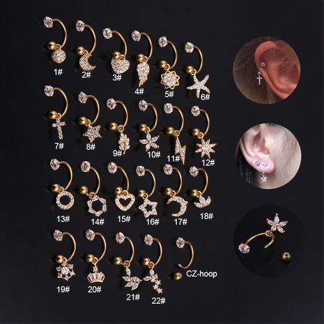 Mode en acier inoxydable C-ring piercing fleur zircon pendentif boucles d'oreilles en gros NHEN256047's discount tags