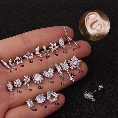 Vente chaude de clous d'oreille créatifs en acier inoxydable incrustés de clous d'oreille en zircon NHEN256050's discount tags