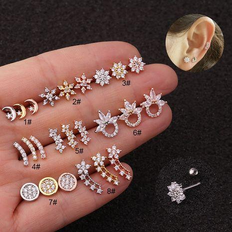 Nouvelles boucles d'oreilles créatives zircon oreille clous d'oreilles en acier inoxydable clous d'oreille en gros NHEN256052's discount tags