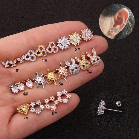 Boucles d'oreilles en zircon mignonnes boucles d'oreilles à vis à aiguille fine en acier inoxydable NHEN256053's discount tags