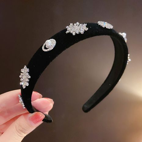 retro rhinestone velvet headband snowflake full drill headband bow retro headband wholesale NHMS256058's discount tags