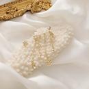 Korean Christmas Snowflake Zircon Tassel Hanging Ear Clip Silver Needle Asymmetrical Stud Earrings wholesale NHMS256079