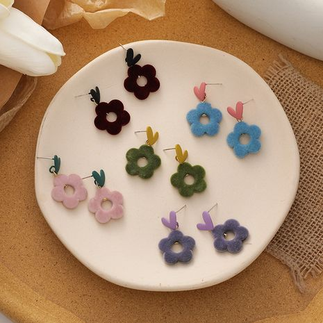 Korean new silver needle flower love velvet earrings wholesale NHMS256086's discount tags
