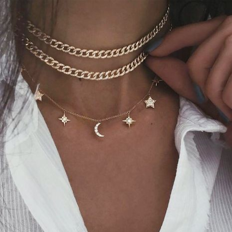 new five-pointed star full diamond moon pendant creative simple chain multi-layer clavicle chain wholesale NHPJ256093's discount tags