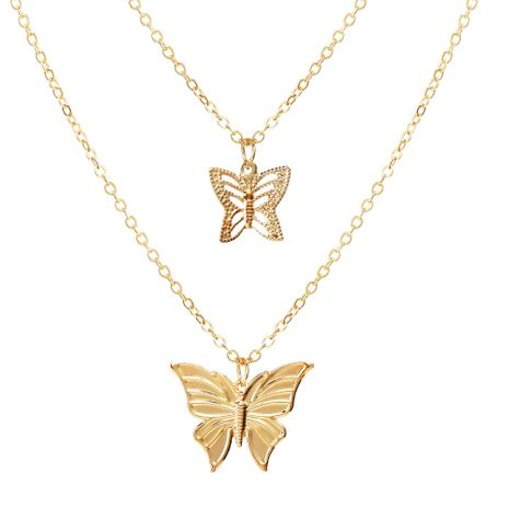 Butterfly Star Pendant Creative Retro Alloy Metal Multilayer Clavicle Chain necklace wholesale NHPJ256094's discount tags