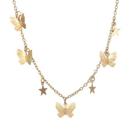 New Butterfly Star Pendant Creative Retro Alloy Metal Clavicle Chain necklace wholesale NHPJ256095's discount tags