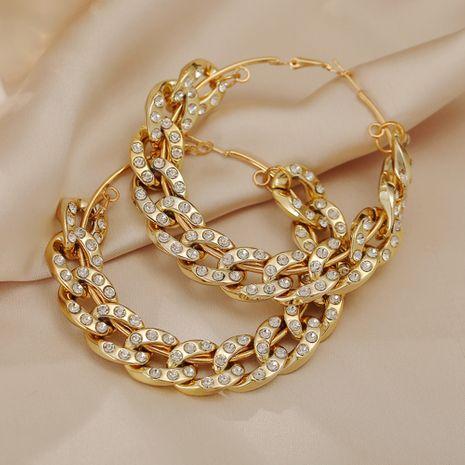 nuevos pendientes de oro creativos exagerados de diamantes de cadena gruesa al por mayor NHPJ256096's discount tags