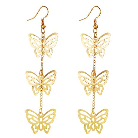 Nuevo colgante de mariposa hueco dorado creativo retro simple pendientes de metal al por mayor NHPJ256098's discount tags