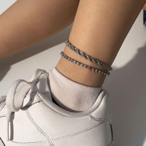 décoration de pied de chaîne de torsion multicouche créative rétro simple ensemble de diamants de cheville en gros NHXR256114's discount tags