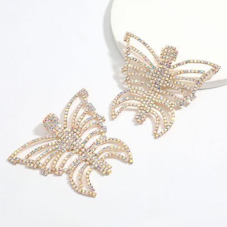 Creative hollow alloy diamond rhinestone butterfly earrings  NHJE256117's discount tags