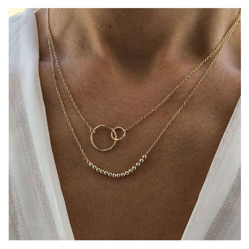 Retro exaggerated golden round bead chain ring pendant fashion multi-layer necklace wholesale NHCT256150