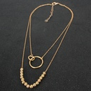 Rtro exagr or rond chane de perles anneau pendentif mode collier multicouche en gros NHCT256150