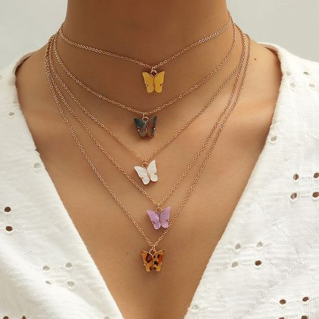 hot new creative small butterfly 5-piece necklace set wholesale NHKQ256162's discount tags