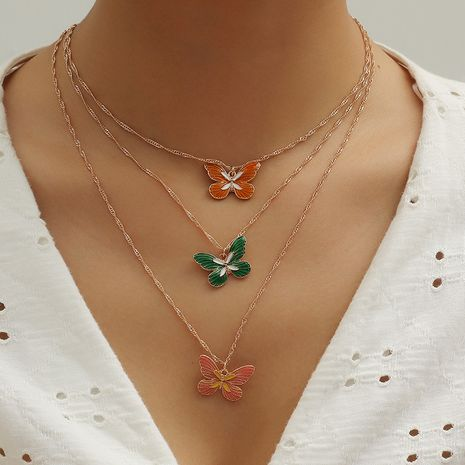 Korean Fashion simple butterfly clavicle chain new dripping 3-piece necklace set wholesale NHKQ256163's discount tags