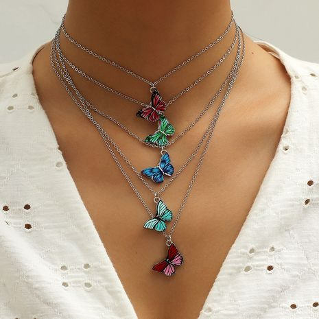 Fashion Korea hot sale butterfly 5-piece necklace set wholesale NHKQ256164's discount tags
