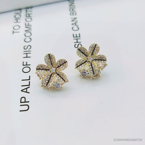 Korean new design micro-inlaid zircon flower plating rose gold simple ladies copper earrings NHLJ256191's discount tags