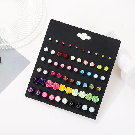 Pendientes de aleación de 30 pares de acrílico de perlas de flores de color con diamantes de moda NHSD256195's discount tags