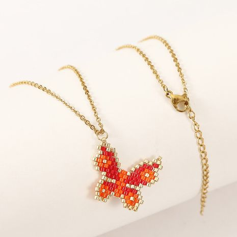 Cute handmade rice beads woven butterfly necklace NHLA256203's discount tags