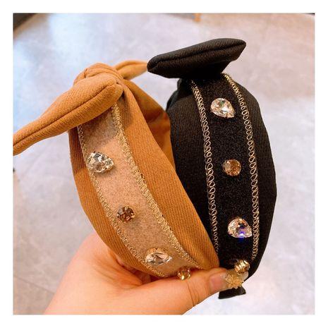 new retro cashmere woolen bowknot rhinestone zircon flash diamond headband wholesale NHHD256206's discount tags
