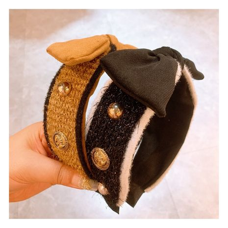 retro small fragrance baroque wool thread bow headband wholesale NHHD256207's discount tags