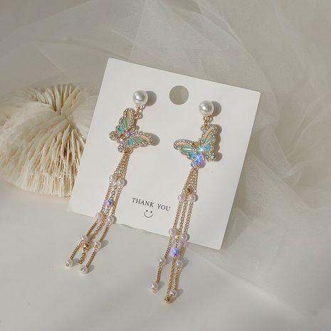 S925 silver needle diamond pearl fashion  Korean tassel long butterfly earrings for women NHXI256213's discount tags