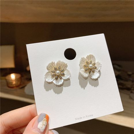 Korea new shell micro-inlaid zircon white flower S925 silver needle ladies earrings NHXI256222's discount tags