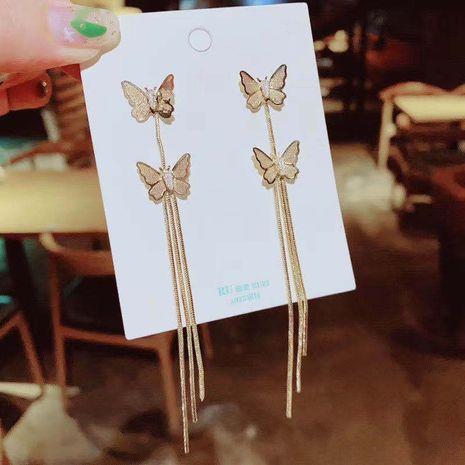 Fashion long Korean fairy fashion wild butterfly tassel alloy earrings NHXI256224's discount tags