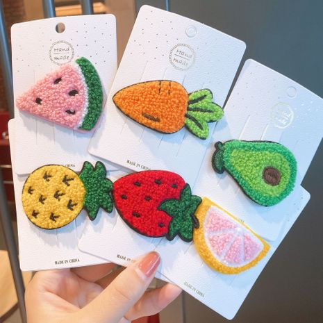 Cute fruit hairpin wool knitted clip wholesale NHSA256257's discount tags