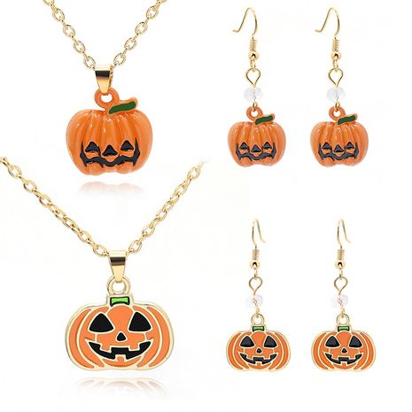 new Halloween ghost magic hat pumpkin cartoon dripping oil earrings necklace set wholesale NHMO256261's discount tags