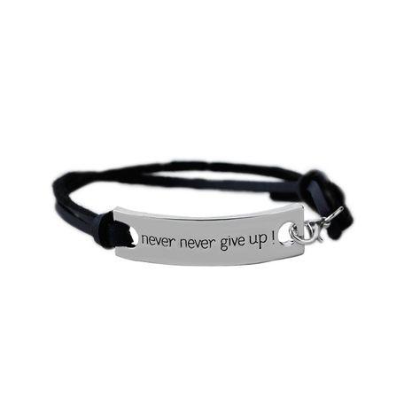 joyería de mano pulsera inspiradora nunca te rindas pulsera de etiqueta de letra inglesa al por mayor NHMO256265's discount tags
