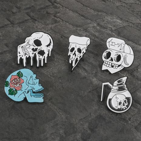Hot selling teapot skull cowboy badge rose flower skull alloy brooch wholesale NHBO256277's discount tags