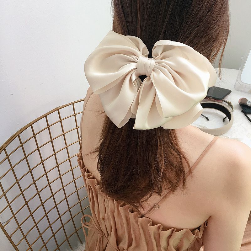 Fashion multi-layer satin bow steel clip spring clip NHHI256309
