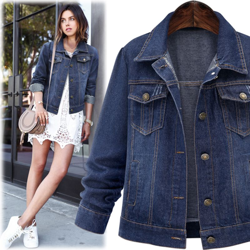 Autumn new style plus fat plus size women's denim jacket wholesale NHWA256395