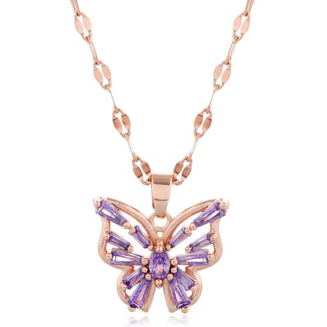 Korean fashion style copper micro-inlaid zircon butterfly personality necklace NHSC256414's discount tags