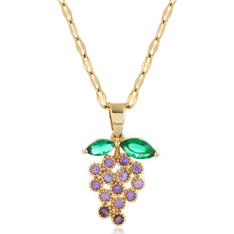 Fashion style copper micro-inlaid zircon grape personality necklace NHSC256405's discount tags