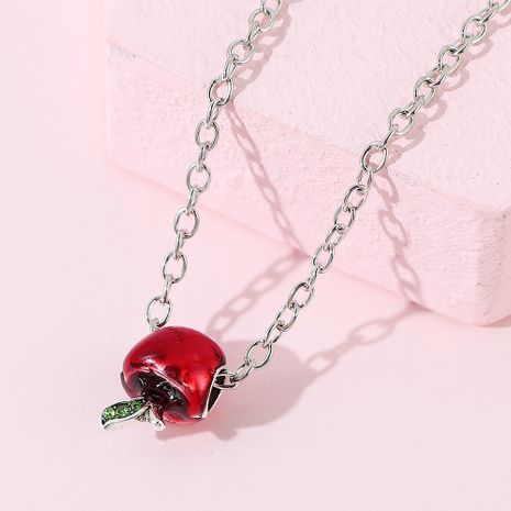creative fashion red apple rhinestone necklace wholesale NHPS256354's discount tags