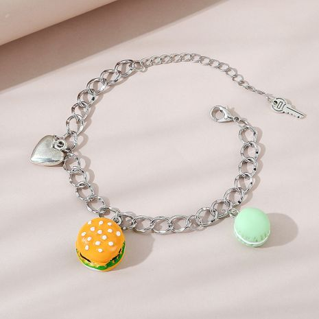 Creative exaggerated wild personality burger careful heart bracelet NHPS256371's discount tags