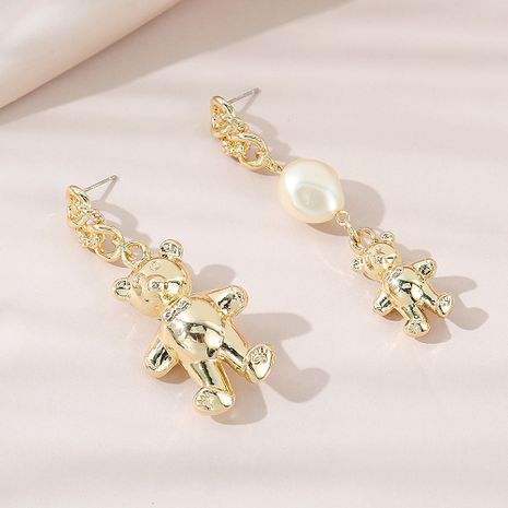 Retro wild small fresh and sweet fashion asymmetrical bear pearl earrings NHPS256373's discount tags