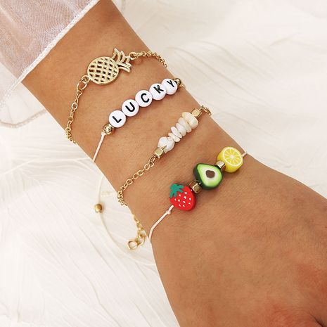 Creative fruit pineapple multilayer beaded letter bracelet LUCKY gravel set jewelry wholesale NHLA256385's discount tags