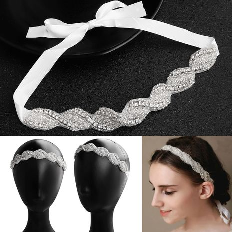 Fashion cross braided handmade beaded applique fabric bridal headdress hair accessories NHHS256419's discount tags
