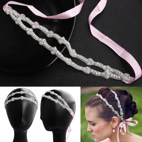 Fashion double-layer hand-woven headband diamond-studded bridal wedding headwear NHHS256417's discount tags
