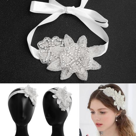 fashion rhinestone children's handmade beaded flower headband bridal wedding flower headdress NHHS256425's discount tags