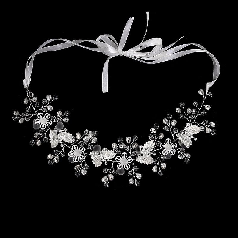 Fashion crystal wedding jewelry hollow flower handmade headdress bridal headband NHHS256429