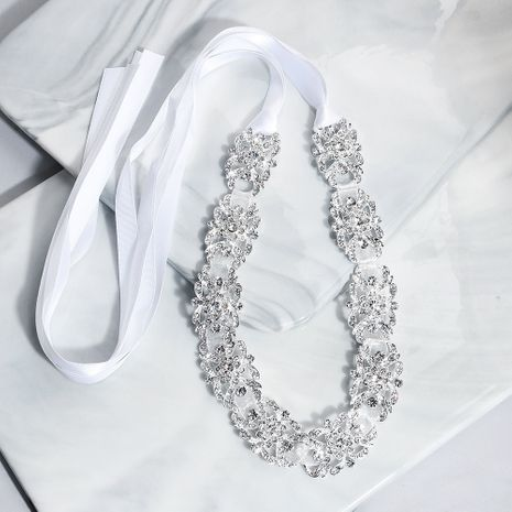 Simple fashion alloy diamond hair band lace streamer bridal hair accessories NHHS256430's discount tags