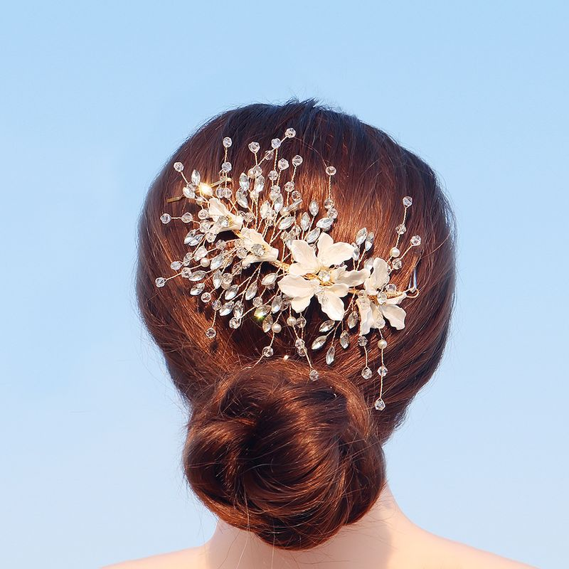 Beautiful simulation shell flower wedding jewelry handmade pearl crystal clip NHHS256434